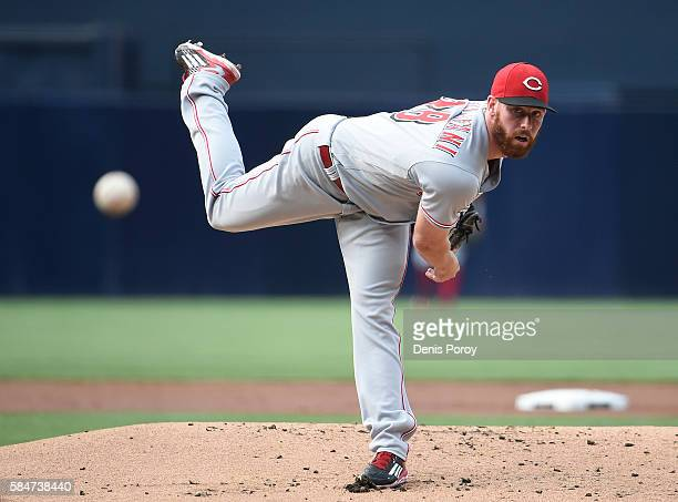 Anthony DeSclafani of the Cincinnati Reds pitches during the first inning of a baseball game against the San Diego Padres at PETCO Park on July 30...