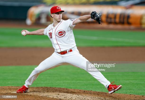 Anthony DeSclafani of the Cincinnati Reds pitches during the game against the Milwaukee Brewers at Great American Ball Park on September 22, 2020 in...