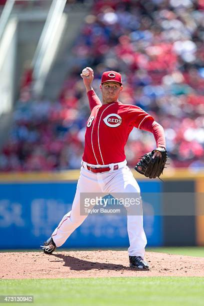 Anthony DeSclafani of the Cincinnati Reds pitches during the game against the Chicago Cubs at Great American Ball Park on Sunday April 26 2015 in...