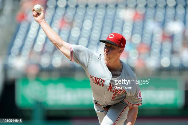 Anthony DeSclafani of the Cincinnati Reds pitches in the fifth inning against the Washington Nationals during game one of a doubleheader at Nationals...