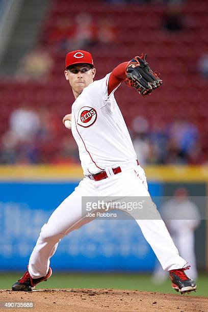 Anthony DeSclafani of the Cincinnati Reds pitches in the first inning against the Chicago Cubs at Great American Ball Park on September 30 2015 in...