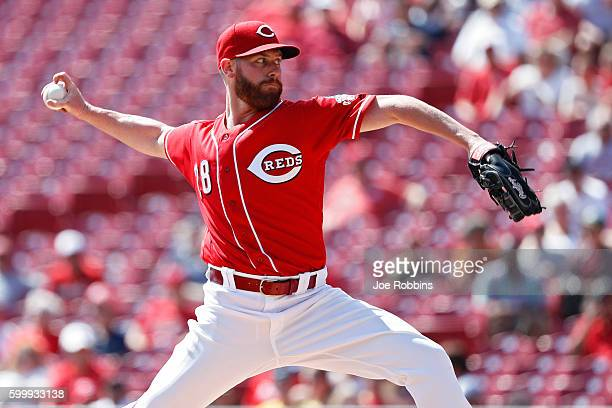 Anthony DeSclafani of the Cincinnati Reds pitches in the first inning against the New York Mets at Great American Ball Park on September 7 2016 in...