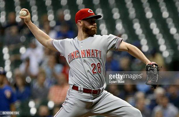 Anthony DeSclafani of the Cincinnati Reds pitches in the first inning against the Milwaukee Brewers at Miller Park on September 23 2016 in Milwaukee...