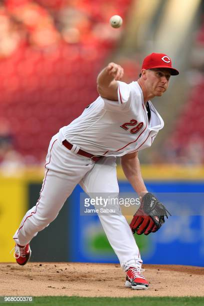 Anthony DeSclafani of the Cincinnati Reds pitches in the first inning against the Colorado Rockies at Great American Ball Park on June 5 2018 in...
