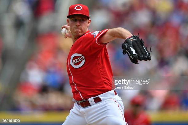 Anthony DeSclafani of the Cincinnati Reds pitches in the first inning against the Chicago Cubs at Great American Ball Park on June 23 2018 in...