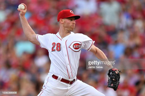 Anthony DeSclafani of the Cincinnati Reds pitches in the second inning against the Philadelphia Phillies at Great American Ball Park on July 27 2018...