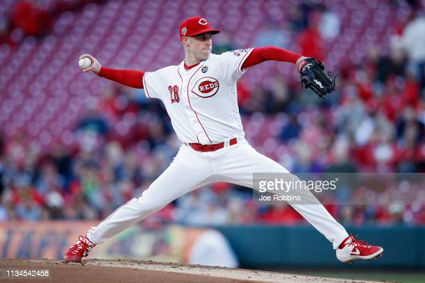 Anthony DeSclafani of the Cincinnati Reds pitches in the second inning against the Milwaukee Brewers at Great American Ball Park on April 2 2019 in...