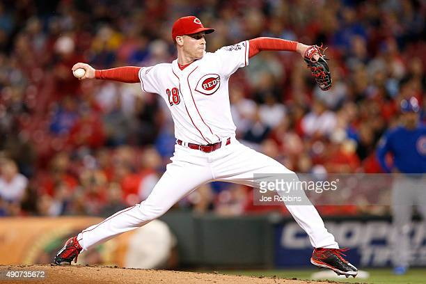Anthony DeSclafani of the Cincinnati Reds pitches in the second inning against the Chicago Cubs at Great American Ball Park on September 30 2015 in...