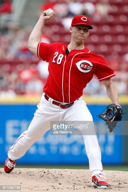 Anthony DeSclafani of the Cincinnati Reds pitches in the second inning against the St Louis Cardinals at Great American Ball Park on June 10 2018 in...