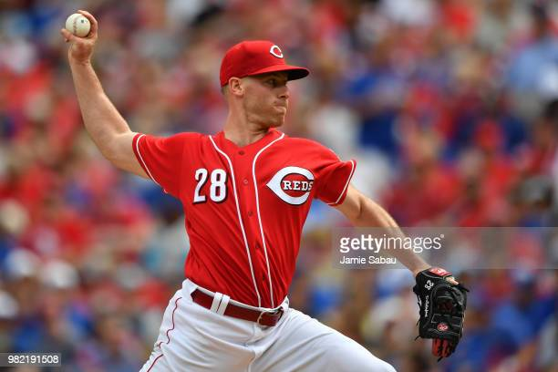 Anthony DeSclafani of the Cincinnati Reds pitches in the second inning against the Chicago Cubs at Great American Ball Park on June 23 2018 in...