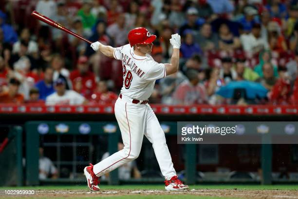 Anthony DeSclafani of the Cincinnati Reds takes an at bat during the game against the San Francisco Giants at Great American Ball Park on August 17...