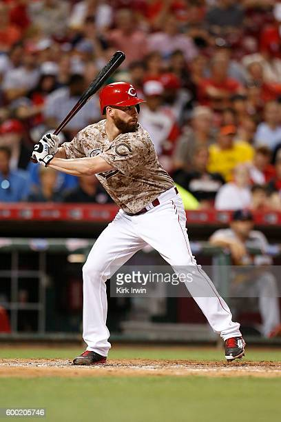 Anthony DeSclafani of the Cincinnati Reds takes an at bat during the game against the St Louis Cardinals at Great American Ball Park on September 2...