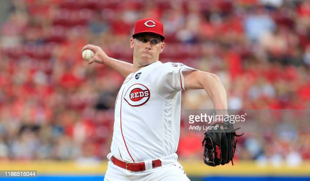 Anthony DeSclafani of the Cincinnati Reds throws a pitch against the Los Angeles Angels of Anaheim at Great American Ball Park on August 06, 2019 in...
