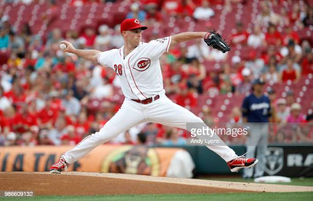Anthony DeSclafani of the Cincinnati Reds throws a pitch against the Milwaukee Brewers at Great American Ball Park on June 28 2018 in Cincinnati Ohio