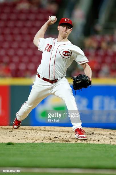 Anthony DeSclafani of the Cincinnati Reds throws a pitch during the game against the San Diego Padres at Great American Ball Park on September 7 2018...