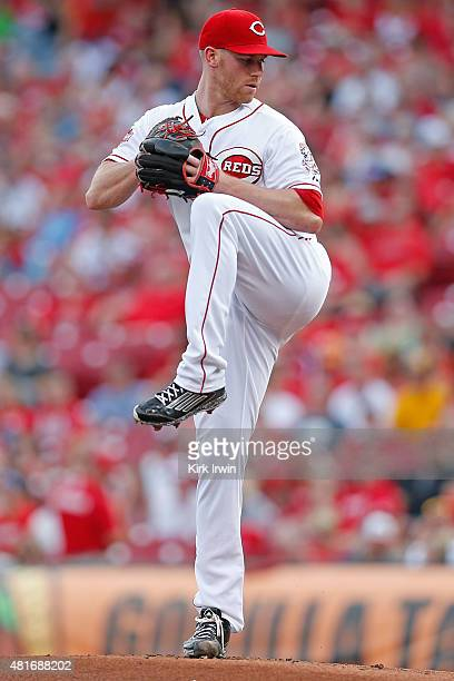 Anthony DeSclafani of the Cincinnati Reds throws a pitch during the game against the Cleveland Indians at Great American Ball Park on July 18 2015 in...