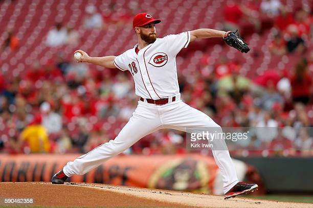 Anthony DeSclafani of the Cincinnati Reds throws a pitch during the first inning of the game against the Miami Marlins at Great American Ball Park on...