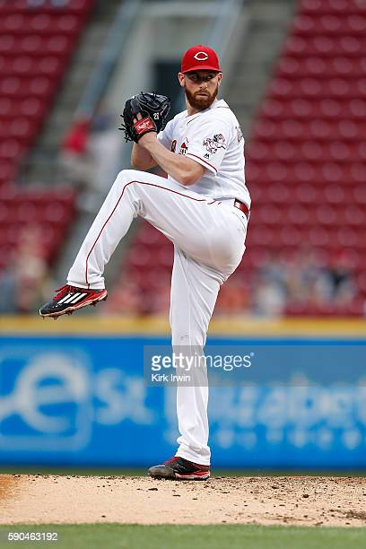 Anthony DeSclafani of the Cincinnati Reds throws a pitch during the second inning of the game against the Miami Marlins at Great American Ball Park...