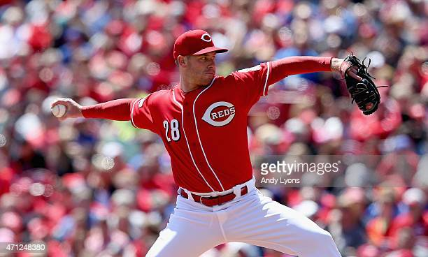 Anthony DeSclafani of the Cincinnati Reds throws a pitch in the first inning against the Chicago Cubs at Great American Ball Park on April 26, 2015...