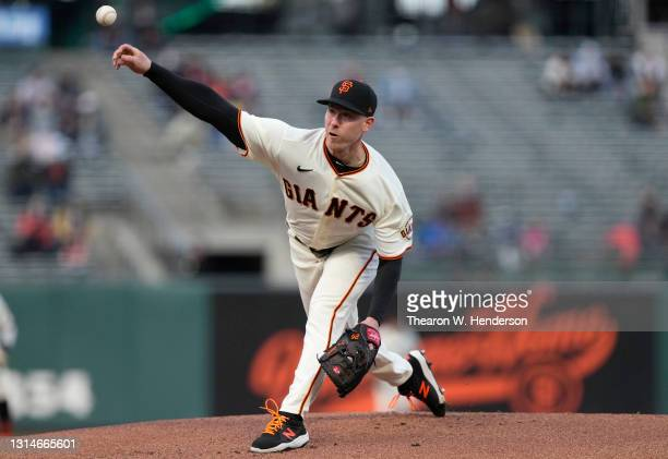 Anthony DeSclafani of the San Francisco Giants pitches against the Colorado Rockies in the first inning at Oracle Park on April 26, 2021 in San...