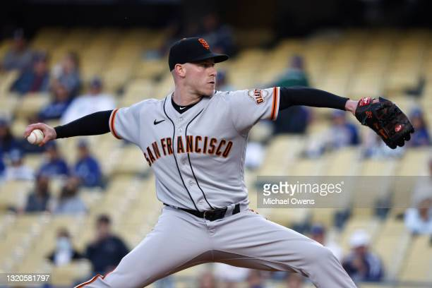Anthony DeSclafani of the San Francisco Giants pitches against the Los Angeles Dodgers during the first inning at Dodger Stadium on May 28, 2021 in...