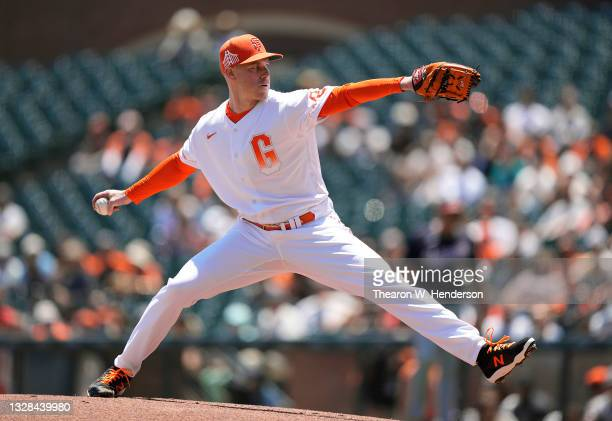 Anthony DeSclafani of the San Francisco Giants pitches against the Washington Nationals in the top of the first inning at Oracle Park on July 10,...