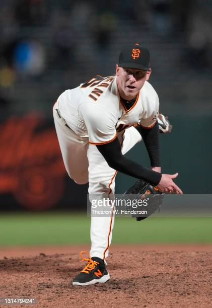 Anthony DeSclafani of the San Francisco Giants pitches againstf the Colorado Rockies in the ninth inning at Oracle Park on April 26, 2021 in San...