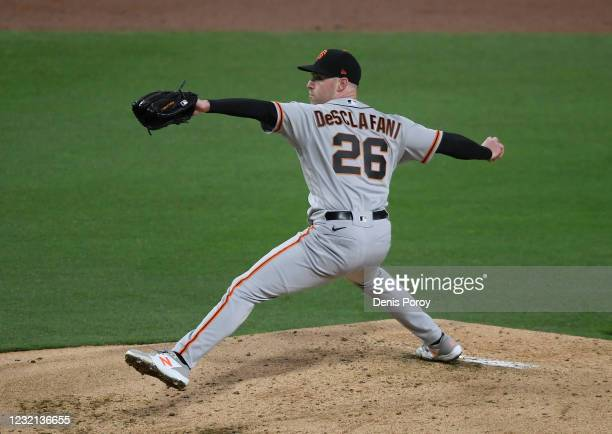 Anthony DeSclafani of the San Francisco Giants pitches during the first inning of a baseball game against the San Diego Padres at Petco Park on April...