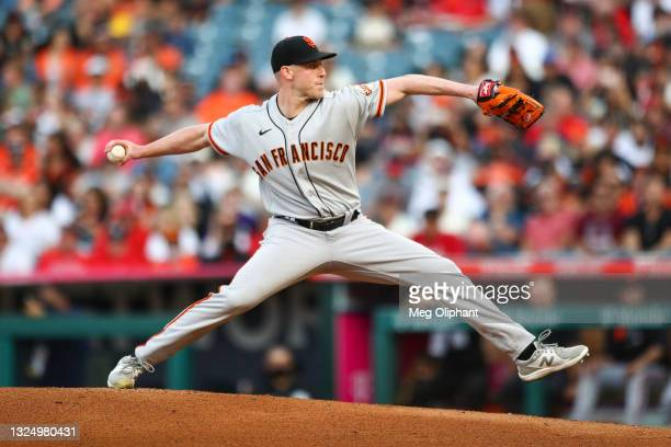 Anthony DeSclafani of the San Francisco Giants pitches during the first inning against the Los Angeles Angels at Angel Stadium of Anaheim on June 22,...