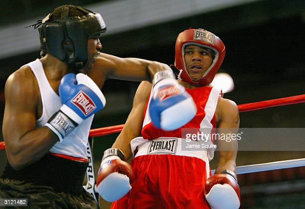 Anthony Dirrell dodges a punch by Ivan Stovall during the United States Olympic Team Boxing Trials at Battle Arena on February 19 2004 in Tunica...