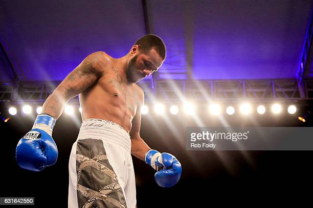 Anthony Dirrell during his Super middleweight bout against Norbert Nemesapati at Hialeah Park on January 13 2017 in Miami Florida
