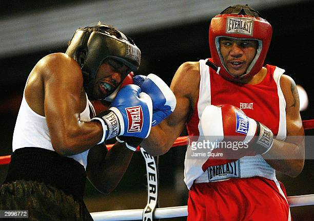 Anthony Dirrell lands a punch in his bout against Ivan Stovall during the United States Olympic Team Boxing Trials at Tunica Arena and Exposition...