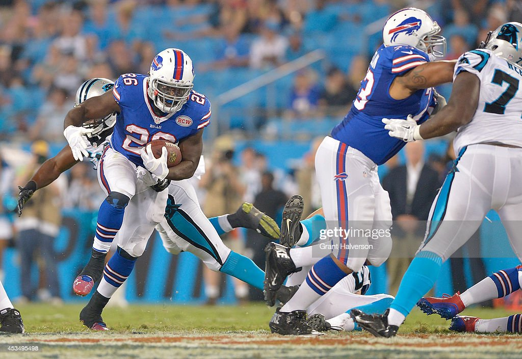 Anthony Dixon #26 of the Buffalo Bills during their game against the Carolina Panthers at Bank of America Stadium on August 8, 2014 in Charlotte, North Carolina. Buffalo won 20-18.