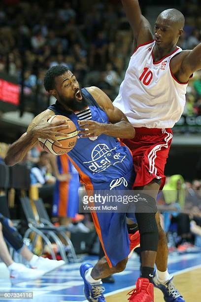 Anthony Dobbins of Gravelines and Pape Sy of Strabourg during the Final match between Strasbourg and Gravelines Dunkerque at Tournament ProStars at...