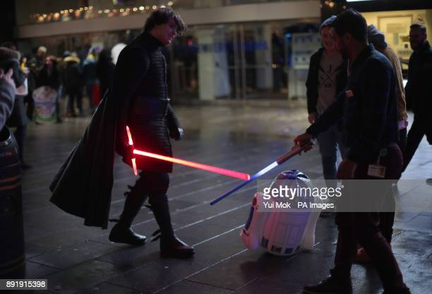 Anthony Dome from London dressed as Kylo Ren arrives for a screening of Star Wars The Last Jedi at Leicester Square in London