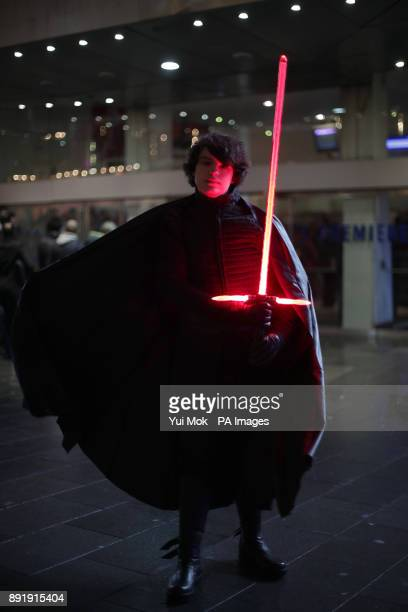 Anthony Dome from London, dressed as Kylo Ren, arrives for a screening of Star Wars: The Last Jedi at Leicester Square in London.