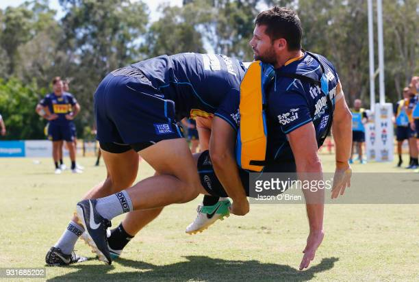 Anthony Don during a Gold Coast Titans NRL training session at Parkwood on March 14 2018 in Gold Coast Australia