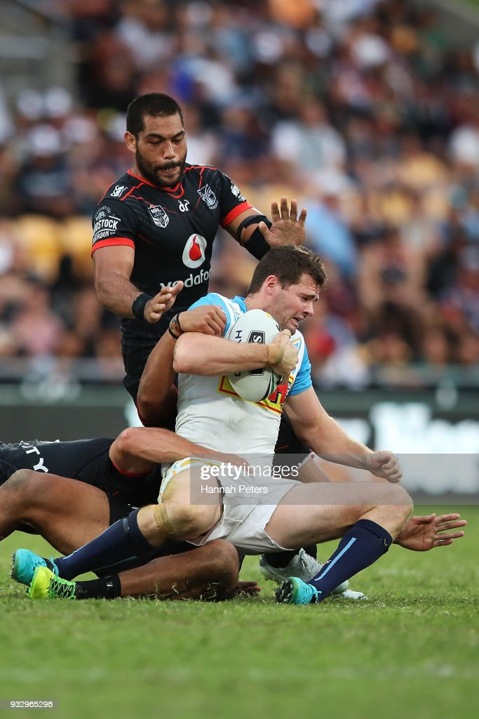 Anthony Don of the Titans is brought down during the round two NRL match between the New Zealand Warriors and the Gold Coast Titans at Mt Smart Stadium on March 17, 2018 in Auckland, New Zealand.