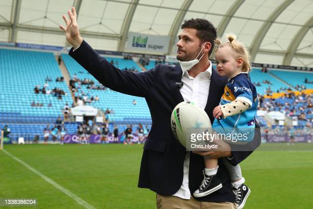 Anthony Don of the Titans waveds to the crowd during the round 25 NRL match between the Gold Coast Titans and the New Zealand Warriors at Cbus Super...