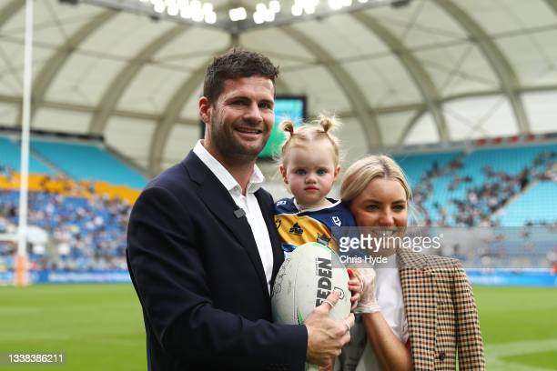 Anthony Don of the Titans waves to the crowd during the round 25 NRL match between the Gold Coast Titans and the New Zealand Warriors at Cbus Super...