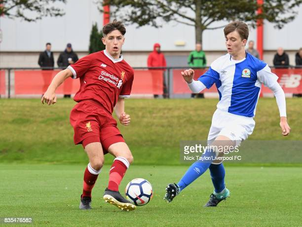 Anthony DriscollGlennon of Liverpool and Callum Wright of Blackburn Rovers in action during the Liverpool v Blackburn Rovers U18 Premier League game...