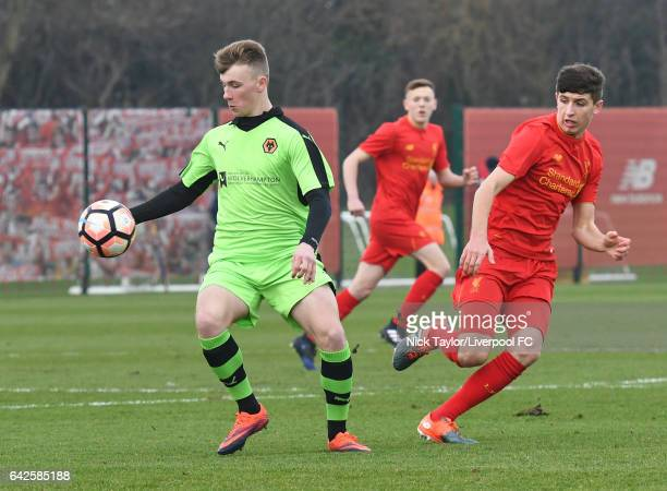 Anthony DriscollGlennon of Liverpool and Joshua Hesson of Wolverhampton Wanderers in action during the Liverpool v Wolverhampton Wanderers U18...