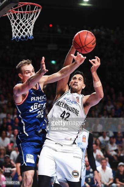 Anthony Drmic of the Adelaide 36ers compets with Tai Wesley of Melbourne United during game four of the NBL Grand Final series between the Adelaide...