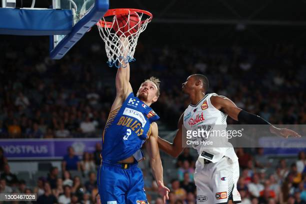 Anthony Drmic of the Bullets shoots during the round four NBL match between the Brisbane Bullets and Melbourne United at Nissan Arena, on February 05...
