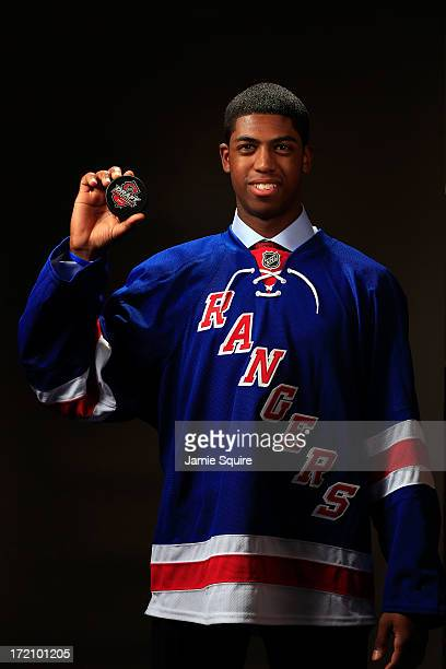 Anthony Duclair 80th pick overall by the New York Rangers poses for a portrait during the 2013 NHL Draft at the Prudential Center on June 30 2013 in...