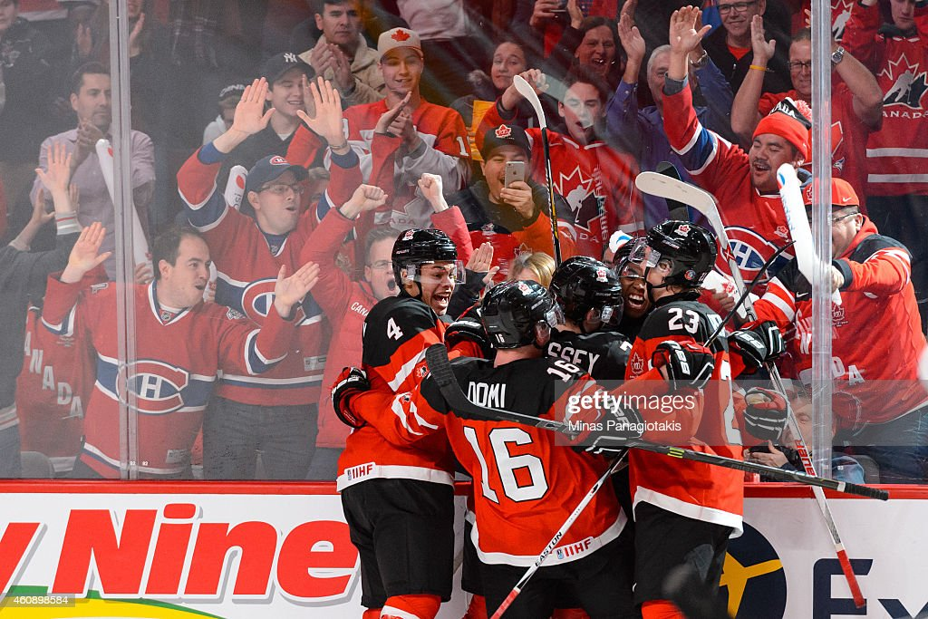Anthony Duclair #10 of Team Canada celebrates his goal with teammates during the 2015 IIHF World Junior Hockey Championship game against Team Finland at the Bell Centre on December 29, 2014 in Montreal, Quebec, Canada. Team Canada defeated Team Finland 4-1.