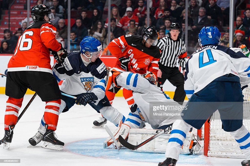 Anthony Duclair #10 of Team Canada takes a shot on net and scores on goaltender Juuse Saros #31 of Team Finland during the 2015 IIHF World Junior Hockey Championship game at the Bell Centre on December 29, 2014 in Montreal, Quebec, Canada. Team Canada defeated Team Finland 4-1.