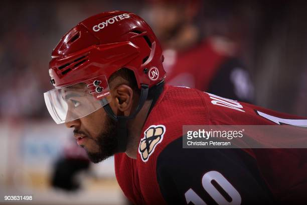 Anthony Duclair of the Arizona Coyotes awaits a face off during the first period of the NHL game against the New York Rangers at Gila River Arena on...