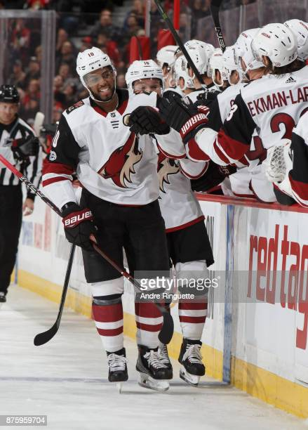 Anthony Duclair of the Arizona Coyotes celebrates his third period goal against the Ottawa Senators with teammates at the players bench at Canadian...