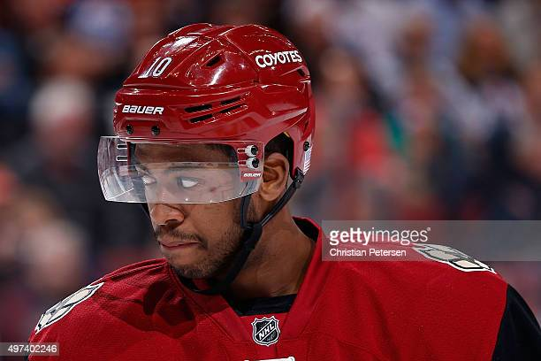 Anthony Duclair of the Arizona Coyotes in action during the NHL game against the Edmonton Oilers at Gila River Arena on November 12 2015 in Glendale...
